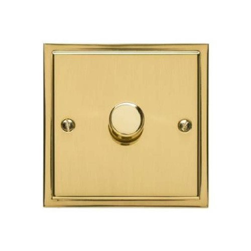 1 Gang 2 Way Push On/Off Dimmer Switch 400W in Polished Brass, Elite Stepped Flat Plate