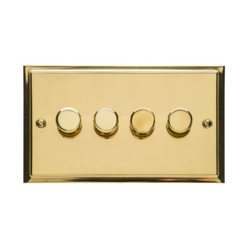 4 Gang 2 Way Push On/Off 400W Dimmer in Polished Brass Elite Stepped Flat Plate