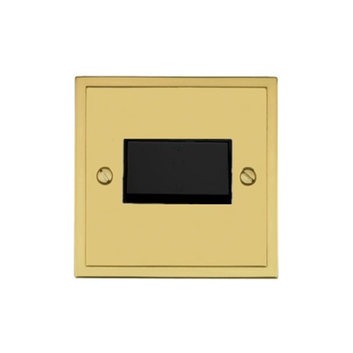 6A Triple Pole Fan Isolating Switch in Polished Brass with Black Trim Elite Stepped Flat Plate