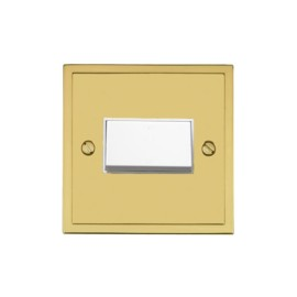 6A Triple Pole Fan Isolating Switch in Polished Brass with White Trim Elite Stepped Flat Plate