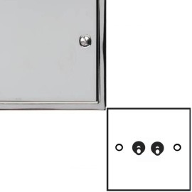 2 Gang 2 Way 20A Dolly Switch in Polished Chrome Elite Stepped Flat Plate