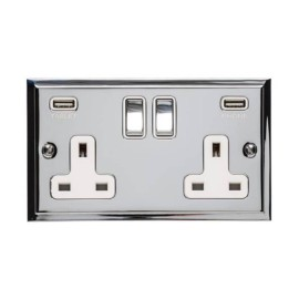 2 Gang 13A Socket with 2 USB Sockets Elite Stepped Flat Polished Chrome Plate and Rockers with White Plastic Insert
