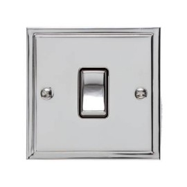 1 Gang 20A Double Pole Switch in Polished Chrome and Black Trim Elite Stepped Flat Plate
