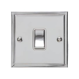 1 Gang 20A Double Pole Switch in Polished Chrome and White Trim Elite Stepped Flat Plate