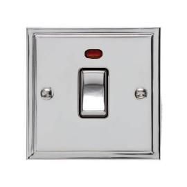 1 Gang 20A Double Pole Switch with Neon in Polished Chrome and Black Trim Elite Stepped Flat Plate