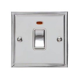 1 Gang 20A Double Pole Switch with Neon in Polished Chrome and White Trim Elite Stepped Flat Plate