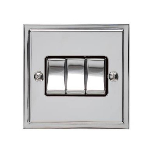 3 Gang 2 Way 10A Rocker Switch in Polished Chrome and Black Trim Elite Stepped Flat Plate