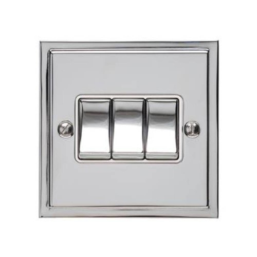 3 Gang 2 Way 10A Rocker Switch in Polished Chrome and White Trim Elite Stepped Flat Plate
