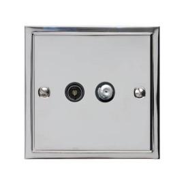 TV / Satellite Socket in Polished Chrome with Black Trim Elite Stepped Flat Plate