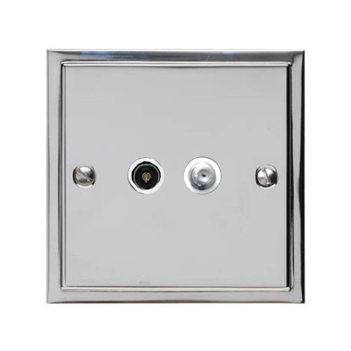 TV / Satellite Socket in Polished Chrome with White Trim Elite Stepped Flat Plate