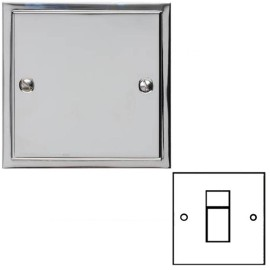 1 Gang RJ45 Data Socket in Polished Chrome with White Trim Elite Stepped Flat Plate