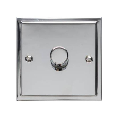 1 Gang 2 Way Push On/Off Dimmer Switch 400W in Polished Chrome, Elite Stepped Flat Plate