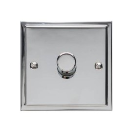 1 Gang 2 Way Trailing Edge LED Dimmer 10-120W in Polished Chrome, Elite Stepped Flat Plate