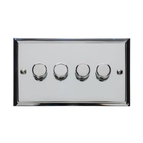 4 Gang 2 Way Push On/Off 400W Dimmer Switch in Polished Chrome Elite Stepped Flat Plate
