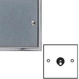 1 Gang 2 Way 20A Dolly Switch in Satin Chrome Elite Stepped Flat Plate with Polished Chrome Edge and Dolly