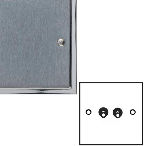 2 Gang 2 Way 20A Dolly Switch in Satin Chrome Elite Stepped Flat Plate with Polished Chrome Edge and Toggle