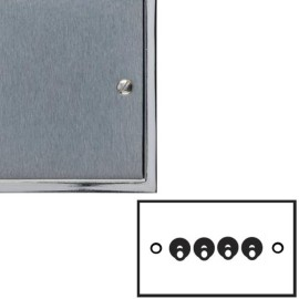 4 Gang 2 Way 20A Dolly Switch in Satin Chrome Elite Stepped Flat Plate with Polished Chrome Edge and Toggle