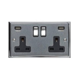 2 Gang 13A Socket with 2 USB Sockets Elite Stepped Flat Satin Chrome Plate and Rockers with Black Plastic Insert