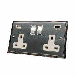 2 Gang 13A Socket with 2 USB Sockets Elite Stepped Flat Satin Chrome Plate and Rockers with White Plastic Insert