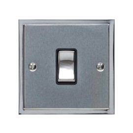 1 Gang 20A Double Pole Switch in Satin Chrome with Polished Chrome Edge and Rocker and Black Trim, Elite Stepped Flat Plate