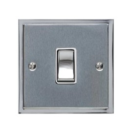 1 Gang 20A Double Pole Switch in Satin Chrome with Polished Chrome Edge and Rocker and White Trim, Elite Stepped Flat Plate