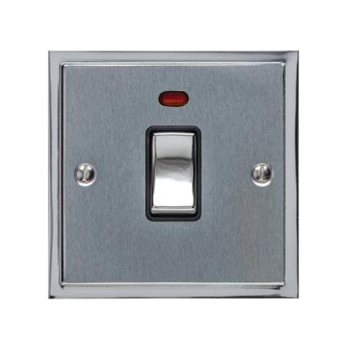 1 Gang 20A Double Pole Switch with Neon in Satin Chrome with Polished Chrome Edge and Rocker and Black Trim, Elite Stepped Flat Plate