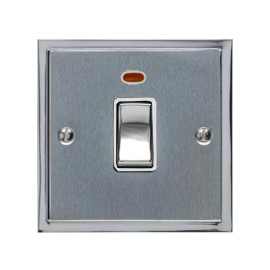 1 Gang 20A Double Pole Switch with Neon in Satin Chrome with Polished Chrome Edge and Rocker and White Trim, Elite Stepped Flat Plate
