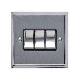 3 Gang 2 Way 10A Rocker Switch in Satin Chrome with Polished Chrome Edge and Rocker and Black Trim, Elite Stepped Flat Plate