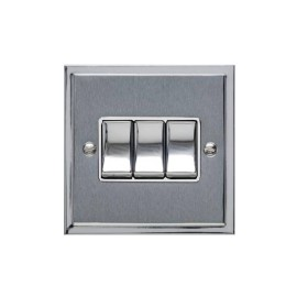3 Gang 2 Way 10A Rocker Switch in Satin Chrome with Polished Chrome Edge and Rocker and White Trim, Elite Stepped Flat Plate