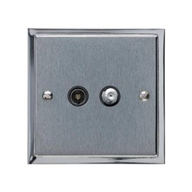 TV / Satellite Socket in Satin Chrome Plate with Polished Chrome Edge and Black Trim, Elite Stepped Flat Plate
