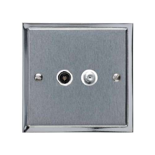 TV / Satellite Socket in Satin Chrome Plate with Polished Chrome Edge and White Trim, Elite Stepped Flat Plate