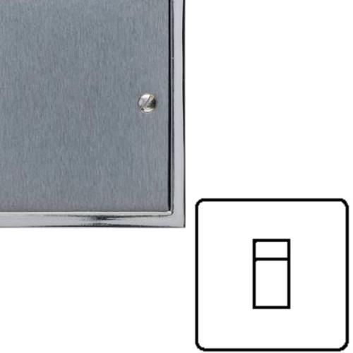 1 Gang RJ45 Data Socket in Satin Chrome Plate with Polished Chrome Edge and Black Trim, Elite Stepped Flat Plate