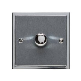 1 Gang 2 Way Push On/Off Dimmer Switch 400W in Satin Chrome Plate with Polished Chrome Edge and Dimmer Knob, Elite Stepped Flat Plate