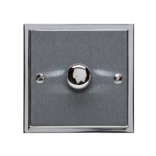1 Gang 2 Way Trailing Edge LED Dimmer 10-120W in Satin Chrome Plate with Polished Chrome Edge and Dimmer Knob, Elite Stepped Flat Plate