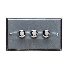 3 Gang 2 Way Trailing Edge LED Dimmer 10-120W in Satin Chrome Plate with Polished Chrome Edge and Dimmer Knobs, Elite Stepped Flat Plate