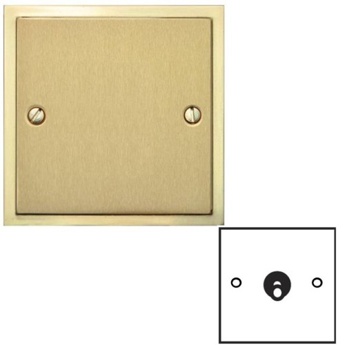 1 Gang 2 Way 20A Dolly Switch in Satin Brass Elite Stepped Flat Plate with Polished Brass Edge and Dolly