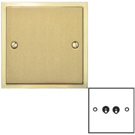 2 Gang 2 Way 20A Dolly Switch in Satin Brass Elite Stepped Flat Plate with Polished Brass Edge and Dolly