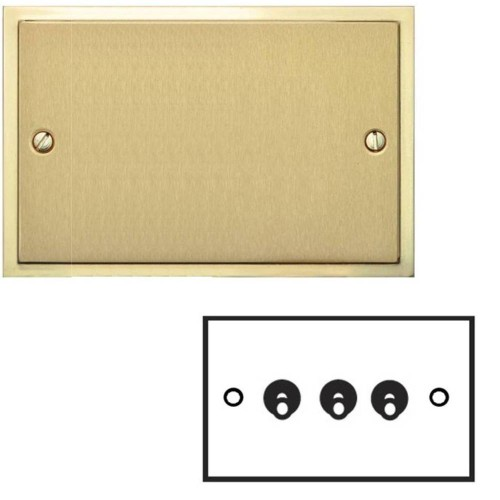 3 Gang 2 Way 20A Dolly Switch in Satin Brass Elite Stepped Flat Plate with Polished Brass Edge and Dolly
