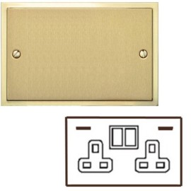 2 Gang 13A Socket with 2 USB Sockets Satin Brass Elite Stepped Flat Plate with Polished Brass Edge and Rockers with White Plastic Insert