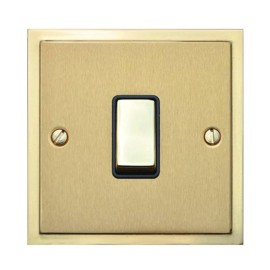1 Gang 20A Double Pole Switch in Satin Brass with Polished Brass Edge and Rocker and Black Trim, Elite Stepped Flat Plate