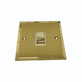 1 Gang Intermediate 10A Rocker Switch in Satin Brass with Polished Brass Edge and Rocker and White Trim, Elite Stepped Flat Plate