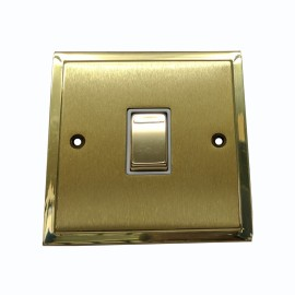 1 Gang 20A Double Pole Switch in Satin Brass with Polished Brass Edge and Rocker and White Trim, Elite Stepped Flat Plate