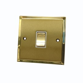 1 Gang 2 Way 10A Rocker Switch in Satin Brass with Polished Brass Edge and Rocker and White Trim, Elite Stepped Flat Plate
