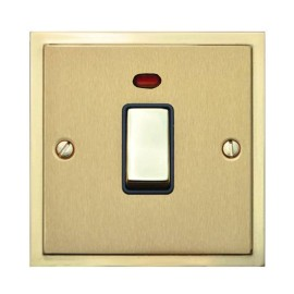 1 Gang 20A Double Pole Switch with Neon in Satin Brass with Polished Brass Edge and Rocker and Black Trim, Elite Stepped Flat Plate