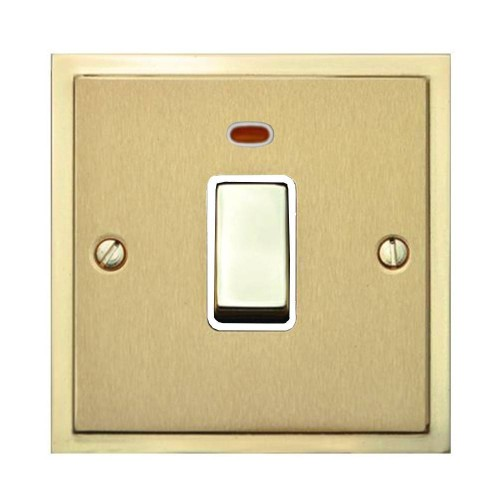 1 Gang 20A Double Pole Switch with Neon in Satin Brass with Polished Brass Edge and Rocker and White Trim, Elite Stepped Flat Plate