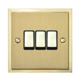 3 Gang 2 Way 10A Rocker Switch in Satin Brass with Polished Brass Edge and Rocker and Black Trim, Elite Stepped Flat Plate