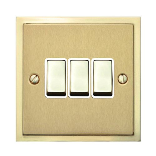 3 Gang 2 Way 10A Rocker Switch in Satin Brass with Polished Brass Edge and Rocker and White Trim, Elite Stepped Flat Plate