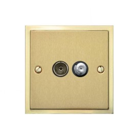 TV / Satellite Socket in Satin Brass Plate with Polished Brass Edge and Black Trim, Elite Stepped Flat Plate