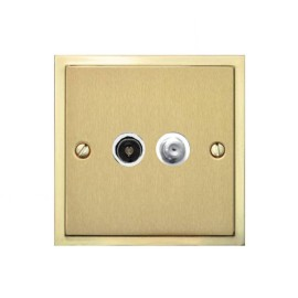 TV / Satellite Socket in Satin Brass Plate with Polished Brass Edge and White Trim, Elite Stepped Flat Plate
