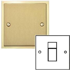 1 Gang RJ45 Data Socket in Satin Brass Plate with Polished Brass Edge and Black Trim, Elite Stepped Flat Plate